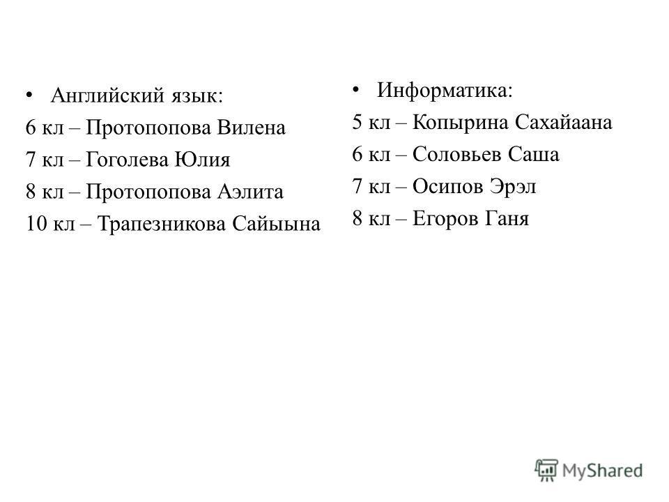 Английский язык: 6 кл – Протопопова Вилена 7 кл – Гоголева Юлия 8 кл – Протопопова Аэлита 10 кл – Трапезникова Сайыына Информатика: 5 кл – Копырина Сахайаана 6 кл – Соловьев Саша 7 кл – Осипов Эрэл 8 кл – Егоров Ганя