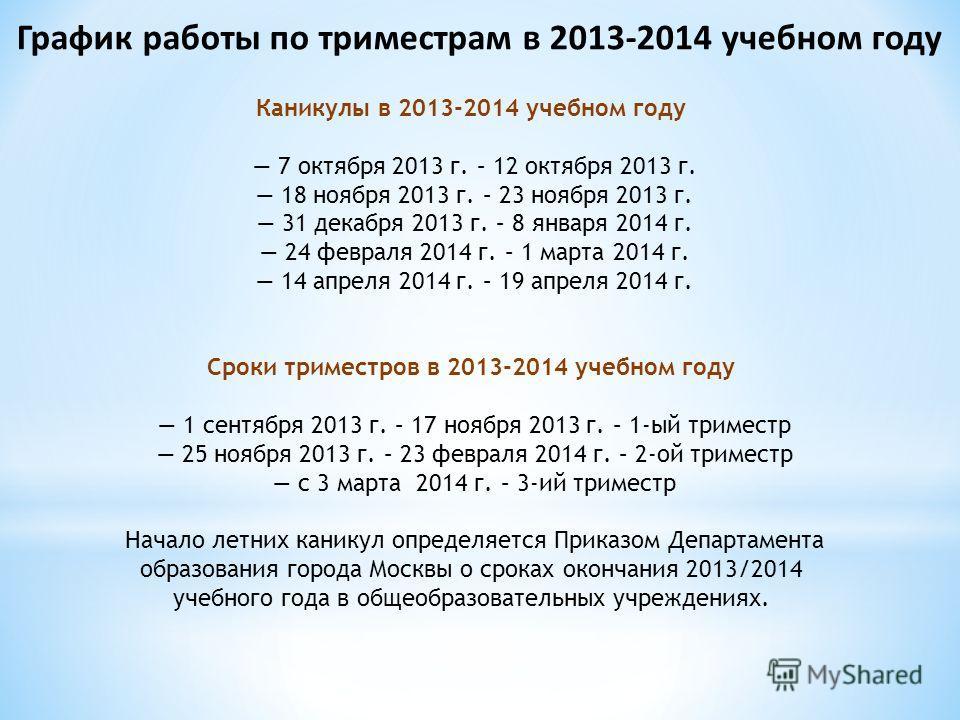 График работы по триместрам в 2013-2014 учебном году Каникулы в 2013-2014 учебном году 7 октября 2013 г. – 12 октября 2013 г. 18 ноября 2013 г. – 23 ноября 2013 г. 31 декабря 2013 г. – 8 января 2014 г. 24 февраля 2014 г. – 1 марта 2014 г. 14 апреля 2