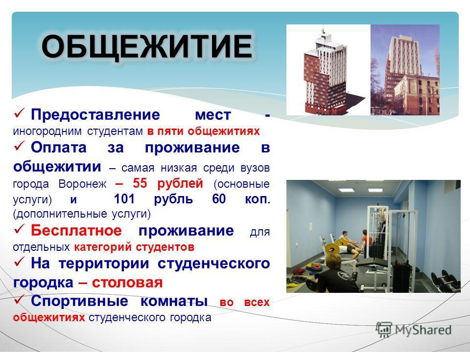 Предоставление мест - иногородним студентам в пяти общежитиях Оплата за проживание в общежитии – самая низкая среди вузов города Воронеж – 55 рублей (основные услуги) и 101 рубль 60 коп. (дополнительные услуги) Бесплатное проживание для отдельных кат