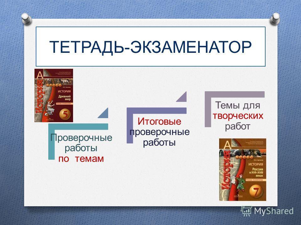 ТЕТРАДЬ-ЭКЗАМЕНАТОР Проверочные работы по темам Итоговые проверочные работы Темы для творческих работ