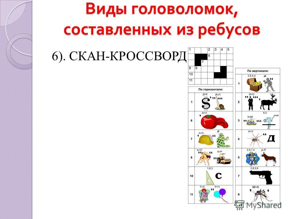 Виды головоломок, составленных из ребусов 6). СКАН-КРОССВОРД