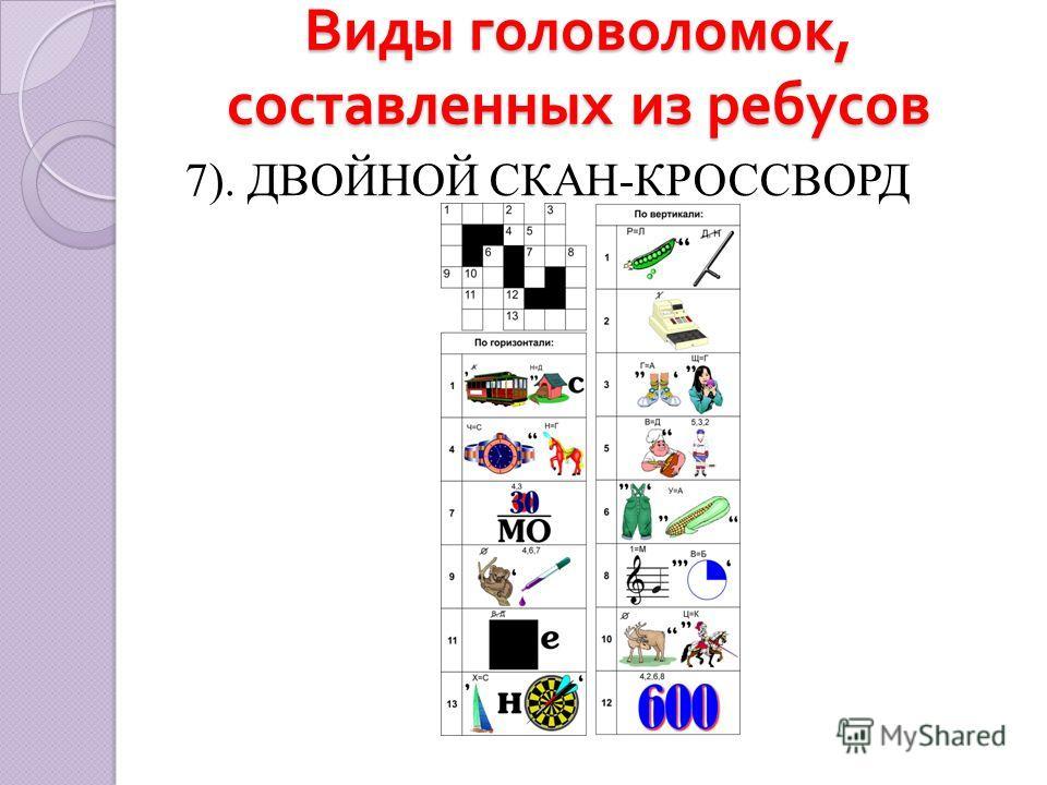 Виды головоломок, составленных из ребусов 7). ДВОЙНОЙ СКАН-КРОССВОРД