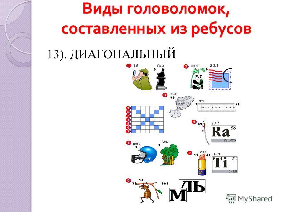 Виды головоломок, составленных из ребусов 13). ДИАГОНАЛЬНЫЙ