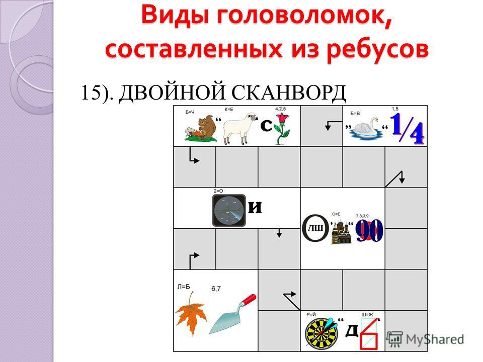 Виды головоломок, составленных из ребусов 15). ДВОЙНОЙ СКАНВОРД