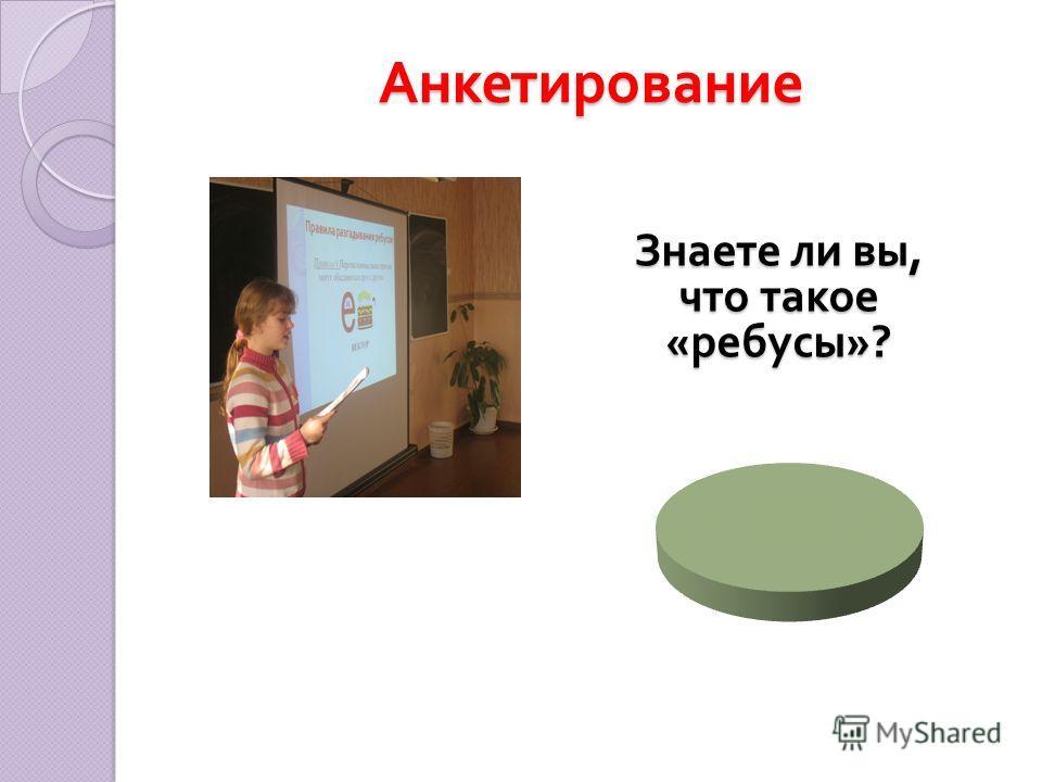 Анкетирование Знаете ли вы, что такое « ребусы »?