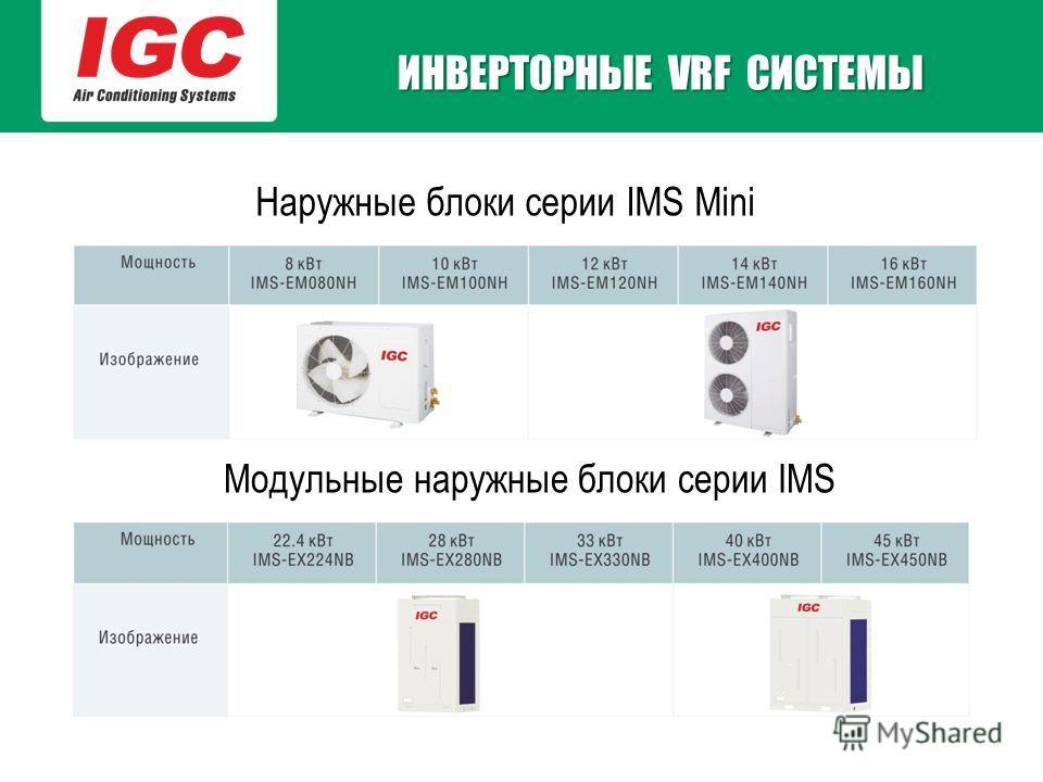 Наружные блоки серии IMS Mini Модульные наружные блоки серии IMS ИНВЕРТОРНЫЕ VRF СИСТЕМЫ