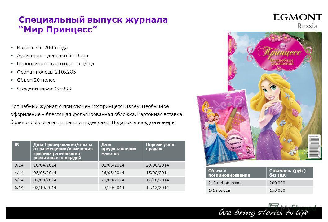 Специальный выпуск журнала Мир Принцесс Издается с 2005 года Аудитория девочки 5 - 9 лет Периодичность выхода 6 р/год Формат полосы 210 х 285 Объем 20 полос Средний тираж 55 000 Волшебный журнал о приключениях принцесс Disney. Необычное оформление –