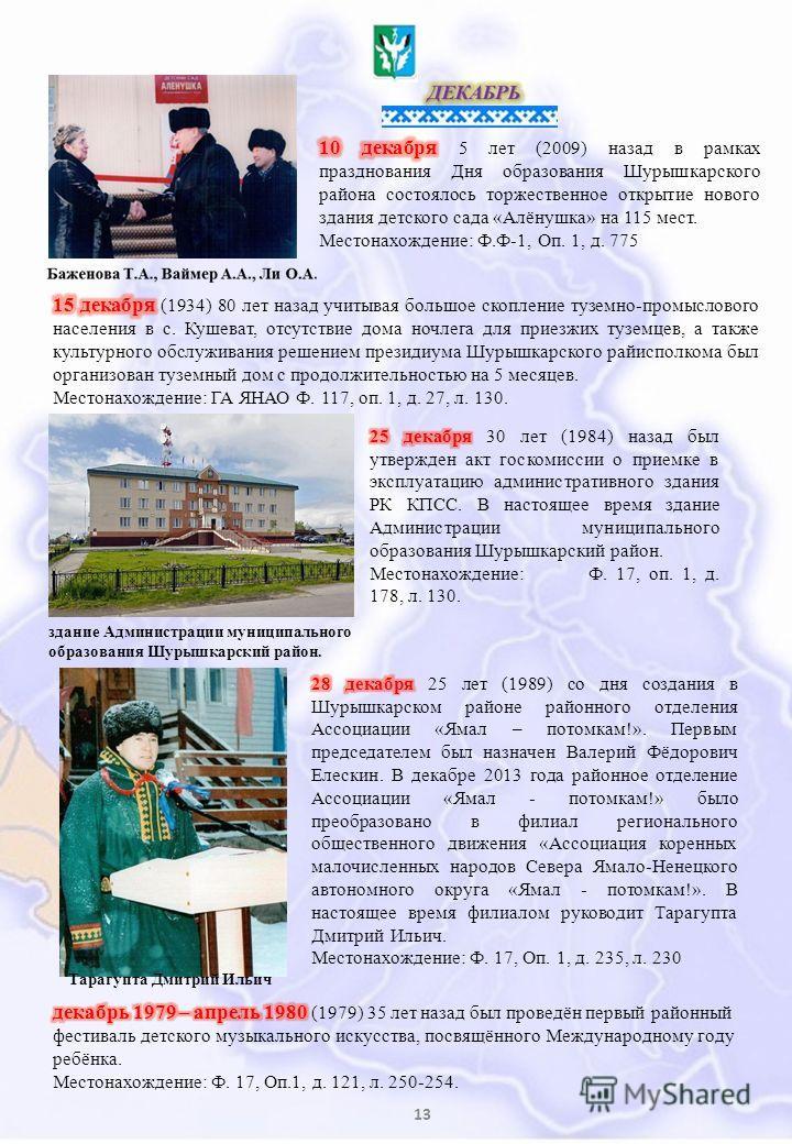 13 здание Администрации муниципального образования Шурышкарский район. Тарагупта Дмитрий Ильич