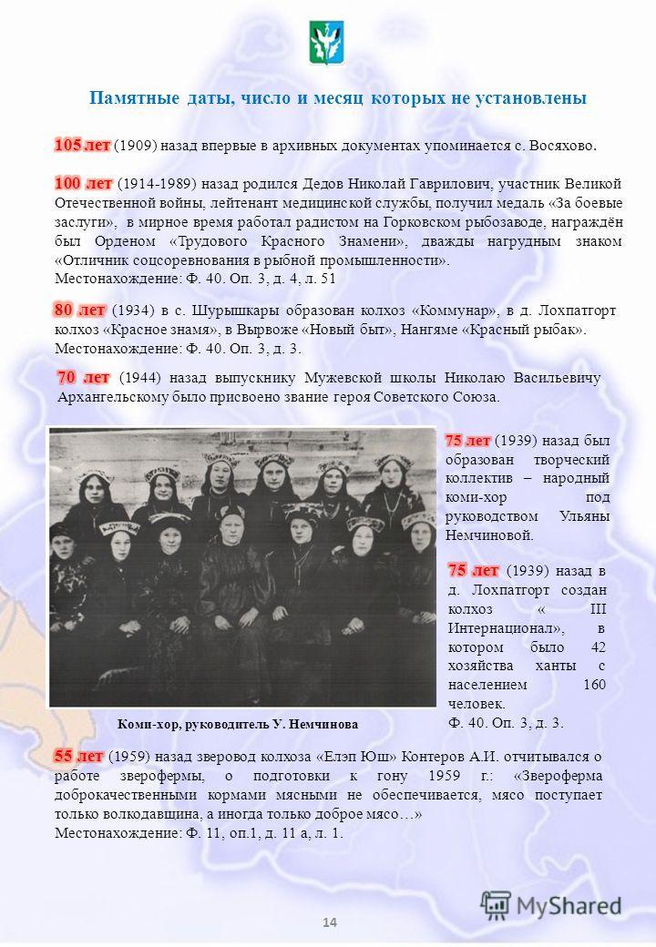 14 Памятные даты, число и месяц которых не установлены Коми-хор, руководитель У. Немчинова