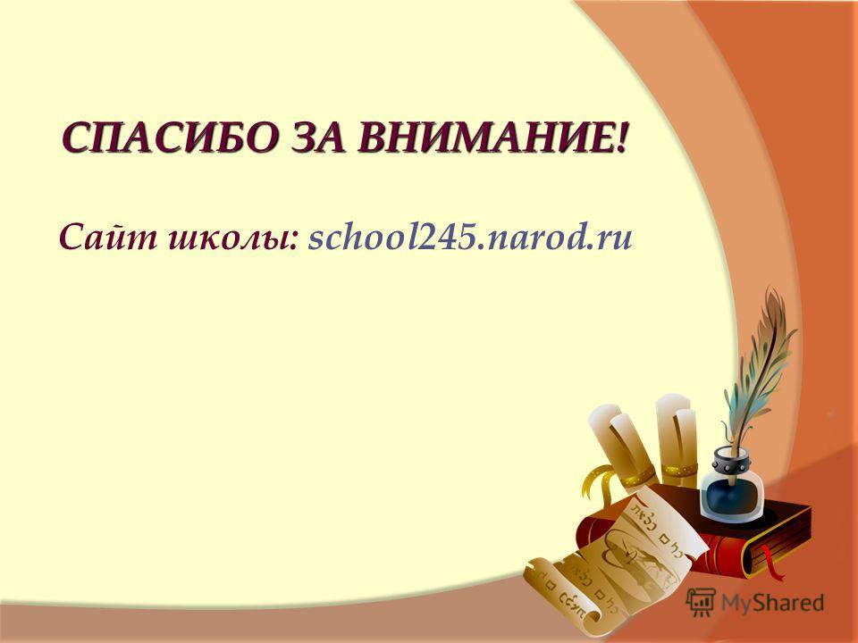 СПАСИБО ЗА ВНИМАНИЕ! Сайт школы: school245.narod.ru