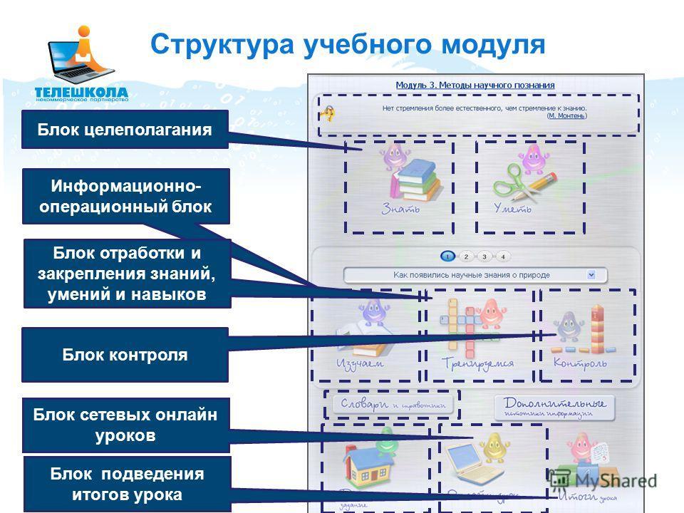 Структура учебного модуля Блок целеполагания Информационно- операционный блок Блок отработки и закрепления знаний, умений и навыков Блок контроля Блок сетевых онлайн уроков Блок подведения итогов урока