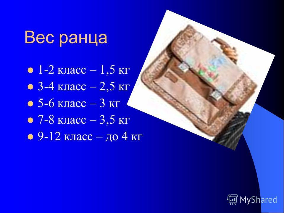 Вес ранца 1-2 класс – 1,5 кг 3-4 класс – 2,5 кг 5-6 класс – 3 кг 7-8 класс – 3,5 кг 9-12 класс – до 4 кг