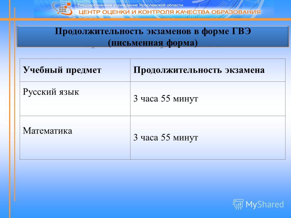 Продолжительность экзаменов в форме ГВЭ (письменная форма) Учебный предмет Продолжительность экзамена Русский язык 3 часа 55 минут Математика 3 часа 55 минут