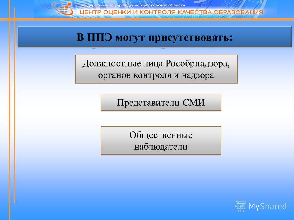 В ППЭ могут присутствовать: Должностные лица Рособрнадзора, органов контроля и надзора Представители СМИ Общественные наблюдатели