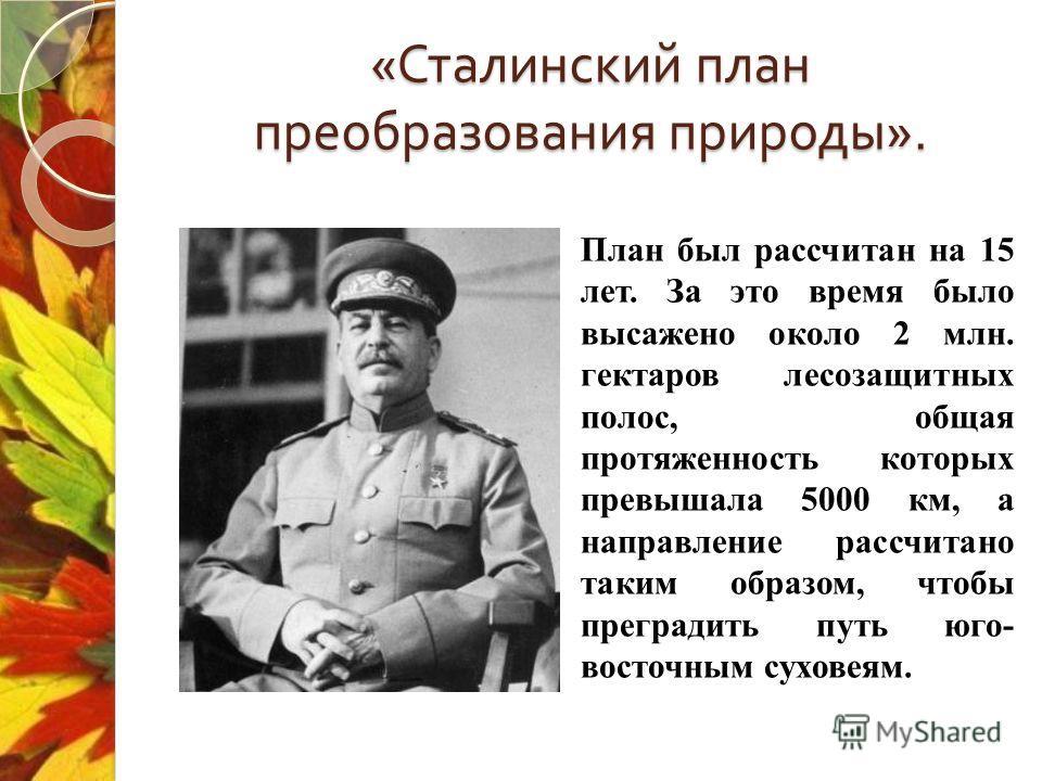 « Сталинский план преобразования природы ». План был рассчитан на 15 лет. За это время было высажено около 2 млн. гектаров лесозащитных полос, общая протяженность которых превышала 5000 км, а направление рассчитано таким образом, чтобы преградить пут