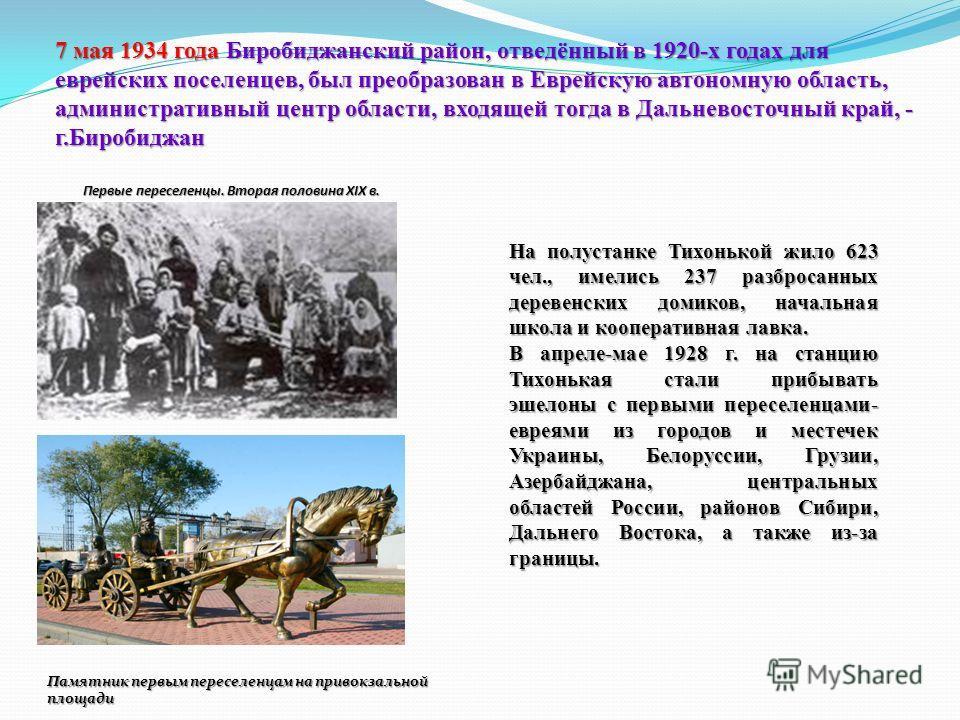 На полустанке Тихонькой жило 623 чел., имелись 237 разбросанных деревенских домиков, начальная школа и кооперативная лавка. В апреле-мае 1928 г. на станцию Тихонькая стали прибывать эшелоны с первыми переселенцами- евреями из городов и местечек Украи