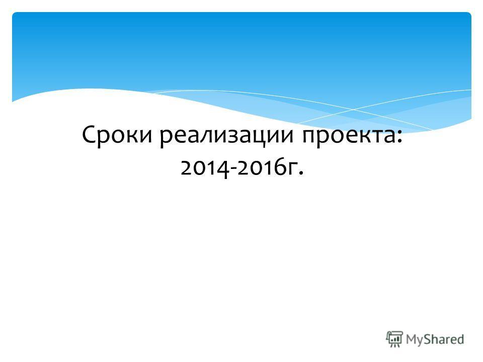Сроки реализации проекта: 2014-2016 г.