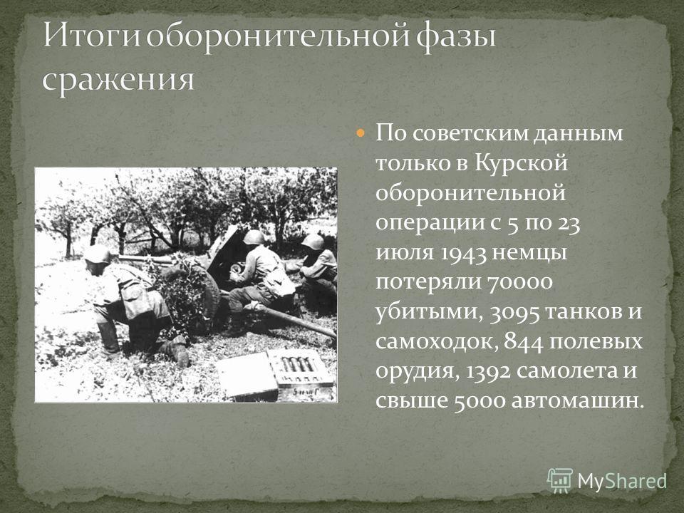 По советским данным только в Курской оборонительной операции с 5 по 23 июля 1943 немцы потеряли 70000 убитыми, 3095 танков и самоходок, 844 полевых орудия, 1392 самолета и свыше 5000 автомашин.