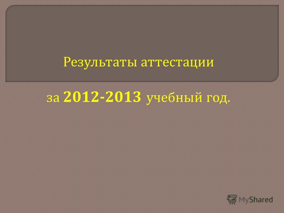 Результаты аттестации за 2012-2013 учебный год.