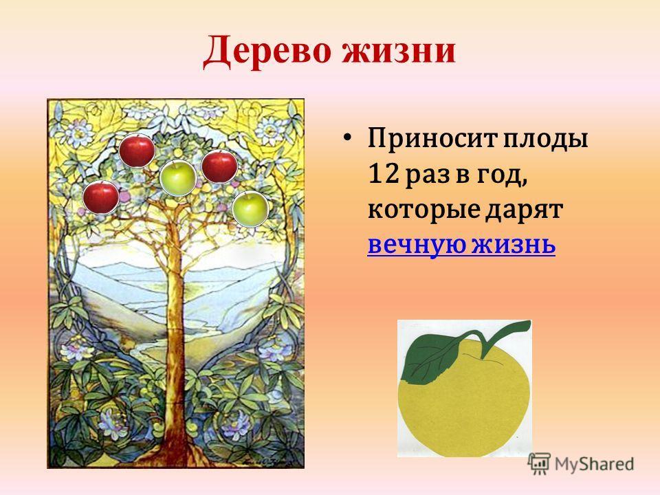 Дерево жизни Приносит плоды 12 раз в год, которые дарят вечную жизнь вечную жизнь