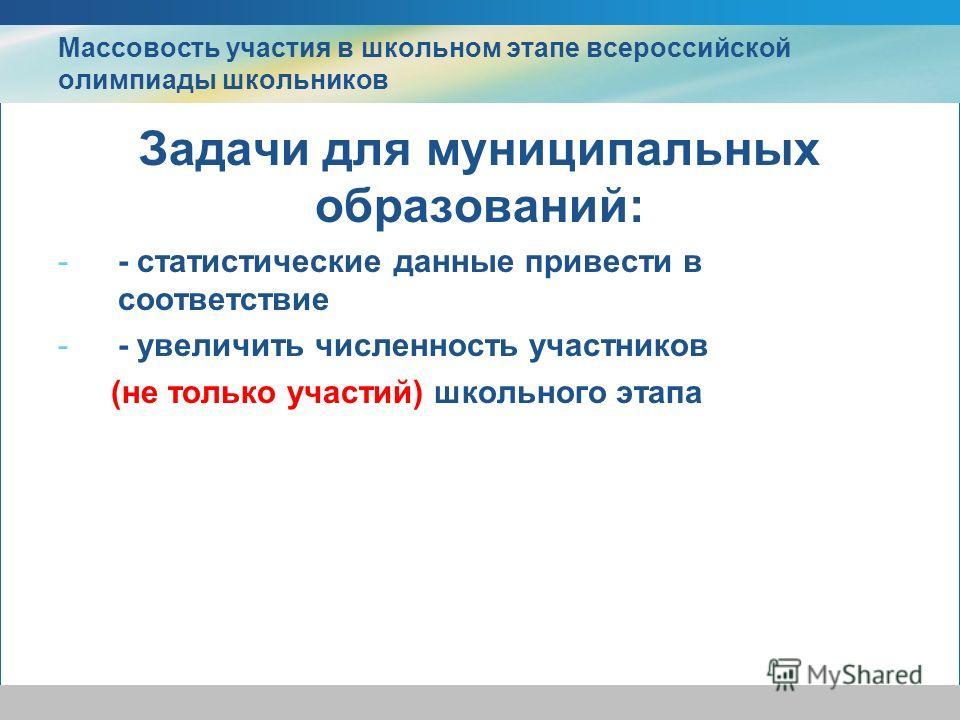 Массовость участия в школьном этапе всероссийской олимпиады школьников Задачи для муниципальных образований: -- статистические данные привести в соответствие -- увеличить численность участников (не только участий) школьного этапа