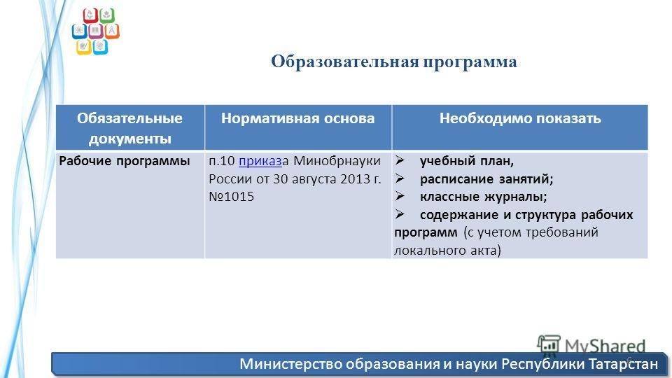 Министерство образования и науки Республики Татарстан 6 Образовательная программа Обязательные документы Нормативная основа Необходимо показать Рабочие программып.10 приказа Минобрнауки России от 30 августа 2013 г. 1015 приказ учебный план, расписани