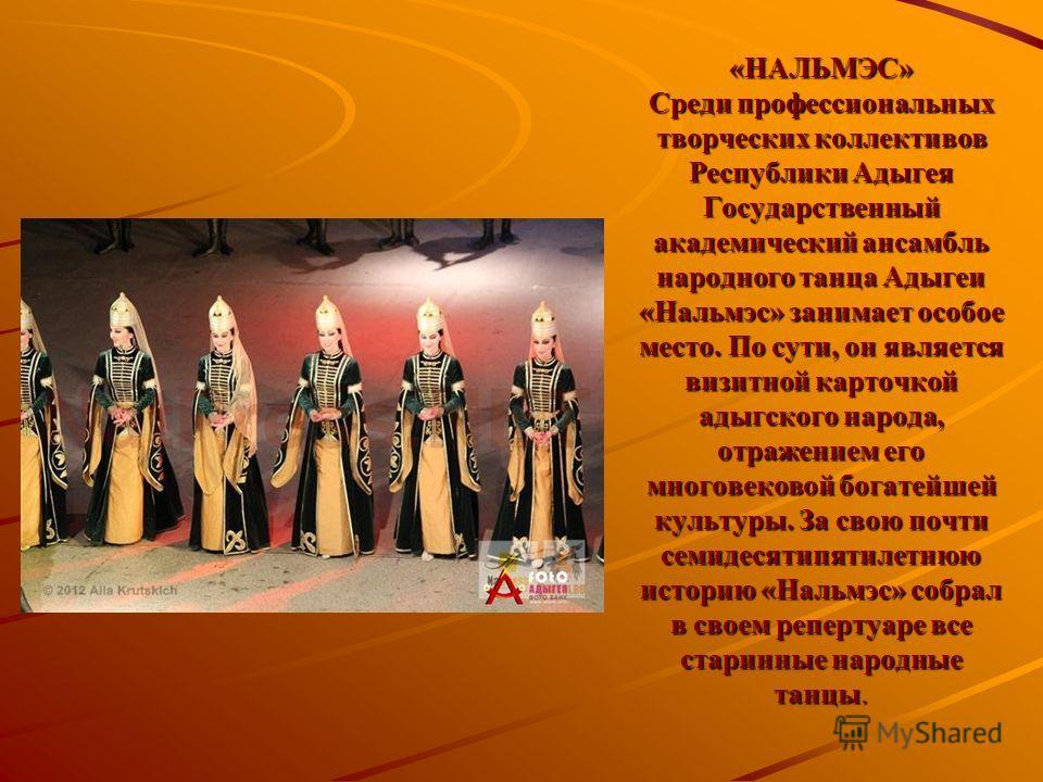 «НАЛЬМЭС» Среди профессиональных творческих коллективов Республики Адыгея Государственный академический ансамбль народного танца Адыгеи «Нальмэс» занимает особое место. По сути, он является визитной карточкой адыгского народа, отражением его многовек