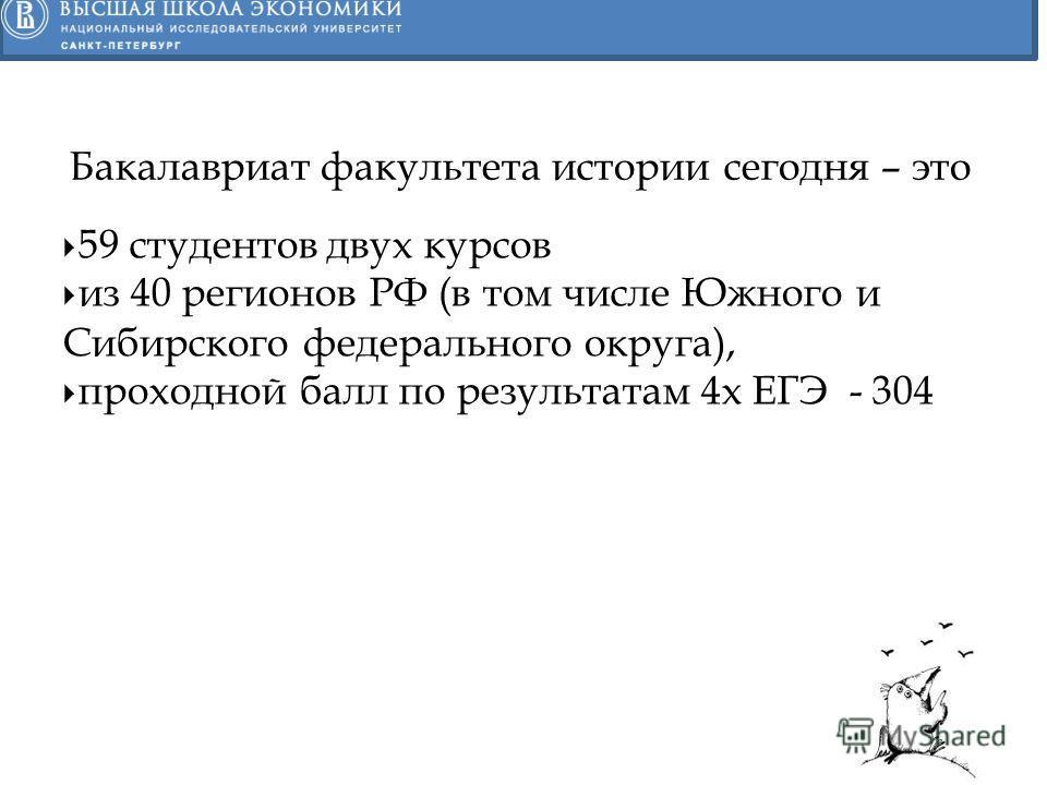 59 студентов двух курсов из 40 регионов РФ (в том числе Южного и Сибирского федерального округа), проходной балл по результатам 4 х ЕГЭ - 304 Бакалавриат факультета истории сегодня – это