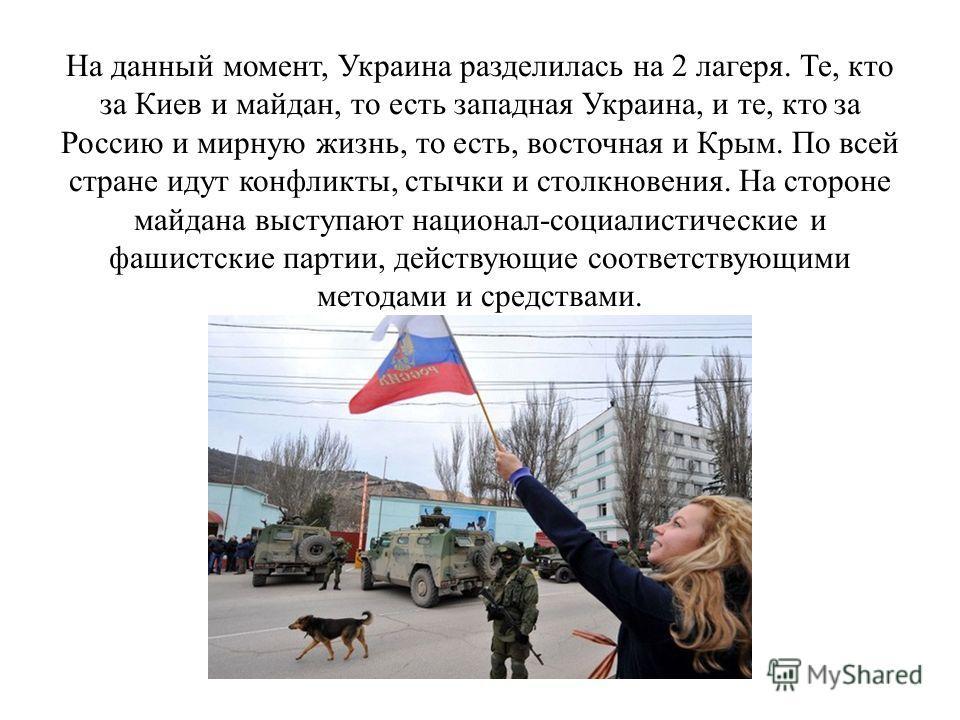 На данный момент, Украина разделилась на 2 лагеря. Те, кто за Киев и майдан, то есть западная Украина, и те, кто за Россию и мирную жизнь, то есть, восточная и Крым. По всей стране идут конфликты, стычки и столкновения. На стороне майдана выступают н