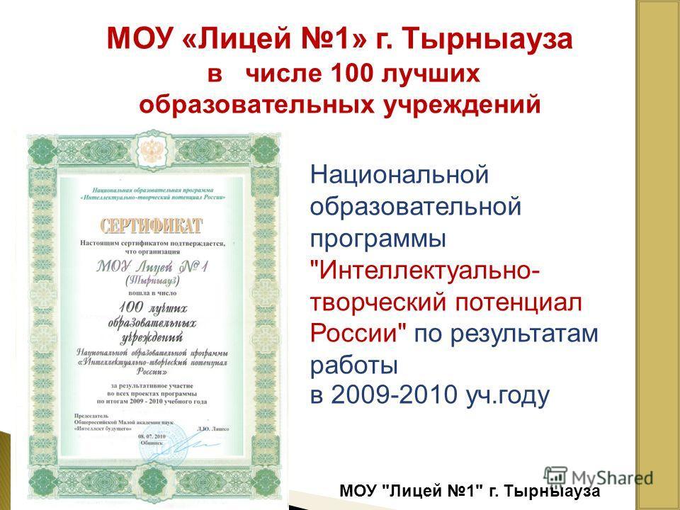МОУ Лицей 1 г. Тырныауза МОУ «Лицей 1» г. Тырныауза в числе 100 лучших образовательных учреждений Национальной образовательной программы Интеллектуально- творческий потенциал России по результатам работы в 2009-2010 уч.году