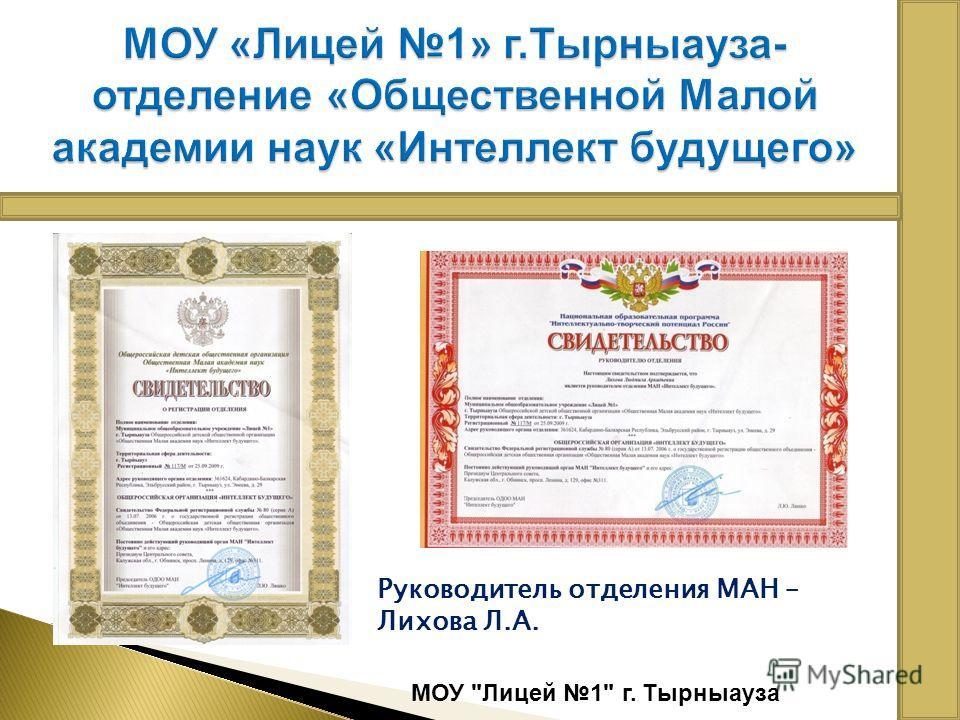 МОУ Лицей 1 г. Тырныауза Руководитель отделения МАН – Лихова Л.А.