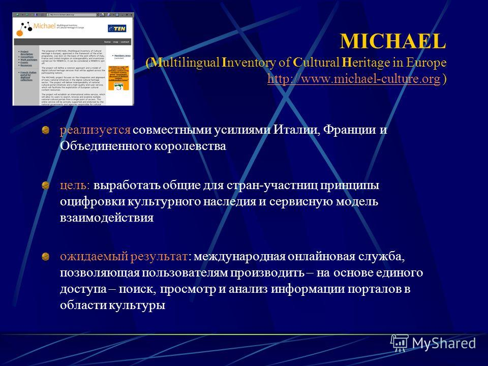 MICHAEL (Multilingual Inventory of Cultural Heritage in Europe http://www.michael-culture.org ) http://www.michael-culture.org реализуется совместными усилиями Италии, Франции и Объединенного королевства цель: выработать общие для стран-участниц прин