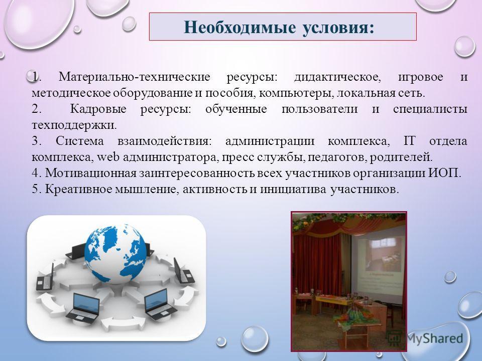 Необходимые условия: 1. Материально-технические ресурсы: дидактическое, игровое и методическое оборудование и пособия, компьютеры, локальная сеть. 2. Кадровые ресурсы: обученные пользователи и специалисты техподдержки. 3. Система взаимодействия: адми