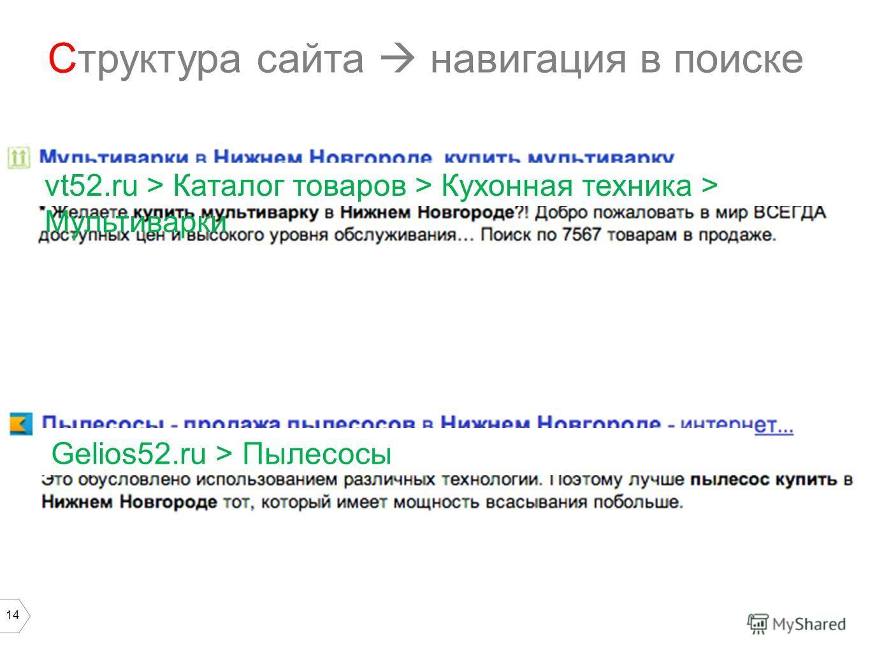 14 Структура сайта навигация в поиске vt52. ru > Каталог товаров > Кухонная техника > Мультиварки Gelios52. ru > Пылесосы