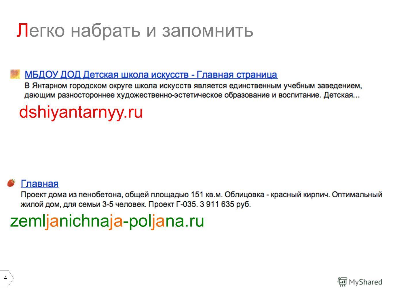 4 Легко набрать и запомнить zemljanichnaja-poljana.ru dshiyantarnyy.ru