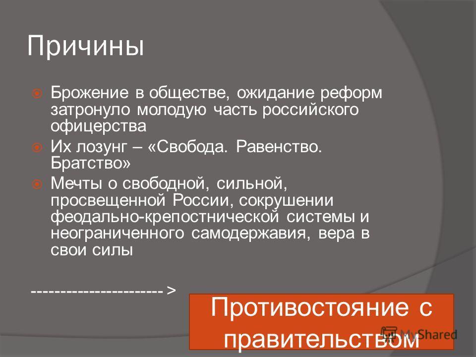 Причины Брожение в обществе, ожидание реформ затронуло молодую часть российского офицерства Их лозунг – «Свобода. Равенство. Братство» Мечты о свободной, сильной, просвещенной России, сокрушении феодально-крепостнической системы и неограниченного сам