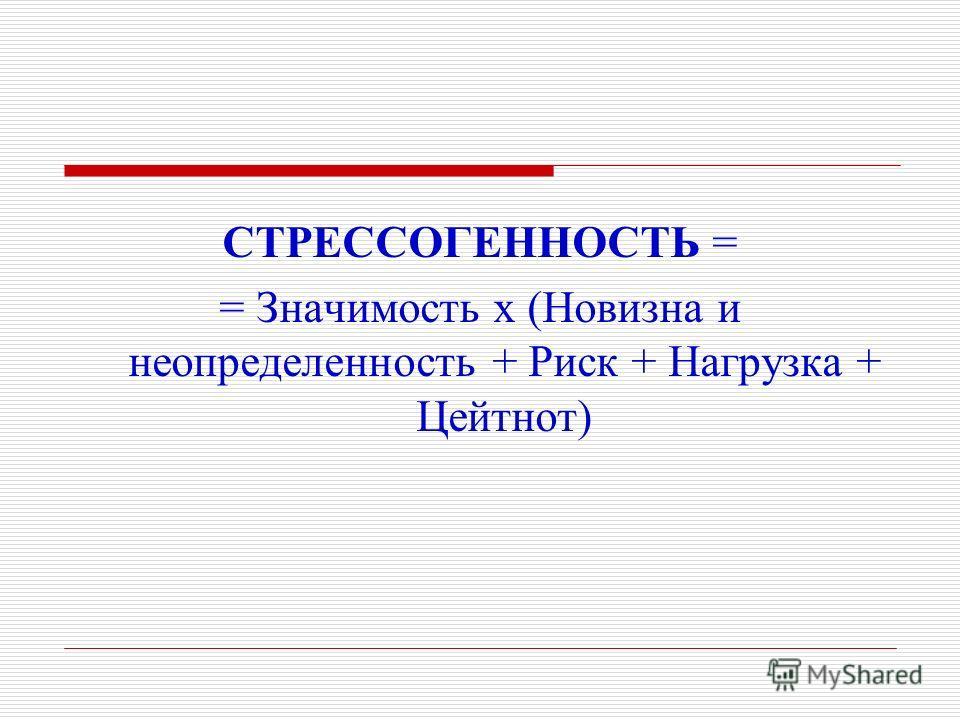 СТРЕССОГЕННОСТЬ = = Значимость х (Новизна и неопределенность + Риск + Нагрузка + Цейтнот)