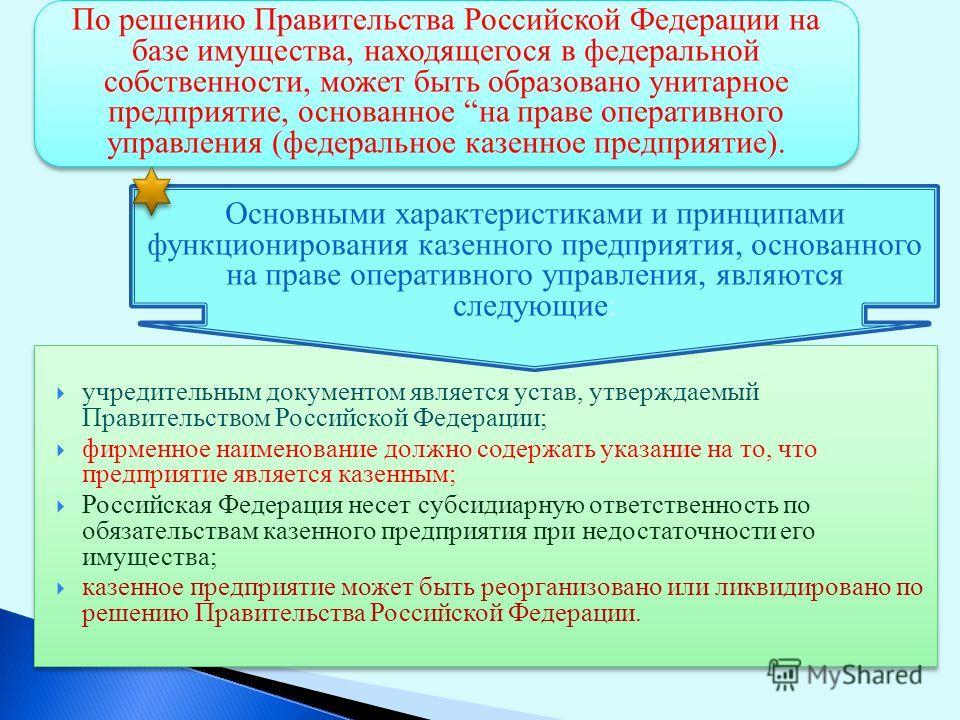 учредительным документом является устав, утверждаемый Правительством Российской Федерации; фирменное наименование должно содержать указание на то, что предприятие является казенным; Российская Федерация несет субсидиарную ответственность по обязатель