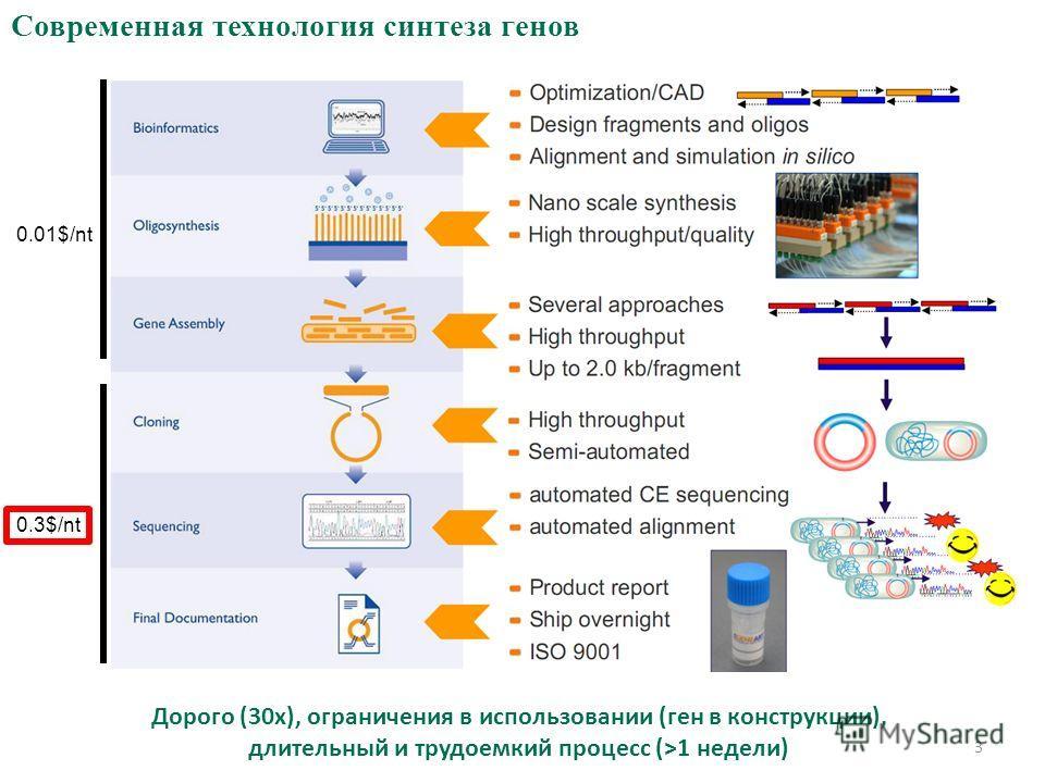 Современная технология синтеза генов 0.3$/nt 0.01$/nt Дорого (30x), ограничения в использовании (ген в конструкции), длительный и трудоемкий процесс (>1 недели) 3