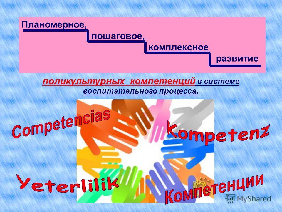Планомерное, пошаговое, комплексное развитие поликультурных компетенций в системе воспитательного процесса.
