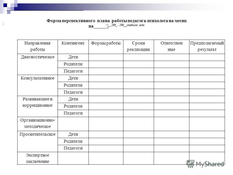 Циклограмма деятельности психолога в образовательном учреждении