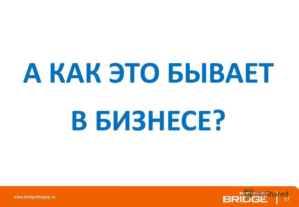 17 www.bridgethegap.ru 17 А КАК ЭТО БЫВАЕТ В БИЗНЕСЕ?