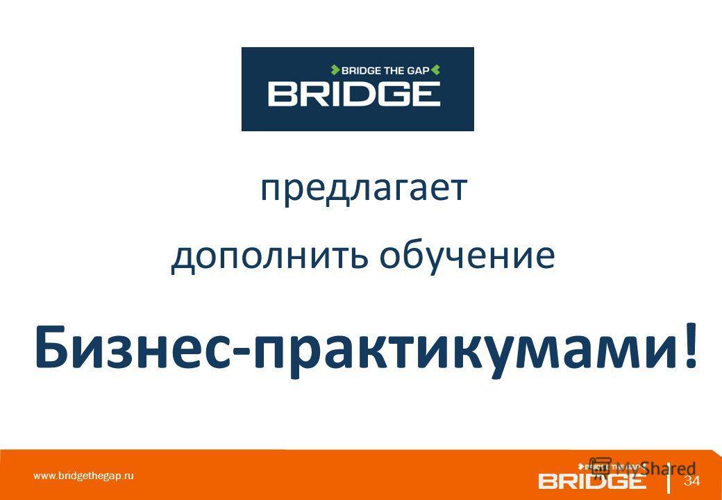 34 www.bridgethegap.ru 34 предлагает дополнить обучение Бизнес-практикумами!