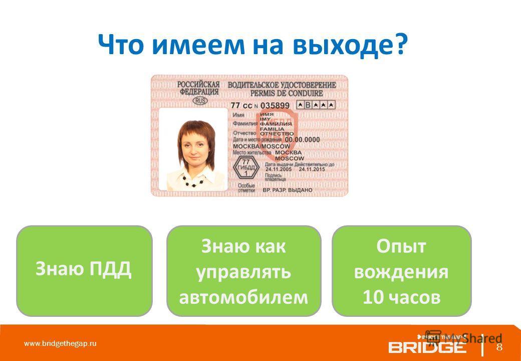 8 www.bridgethegap.ru 8 Что имеем на выходе? Знаю ПДД Знаю как управлять автомобилем Опыт вождения 10 часов