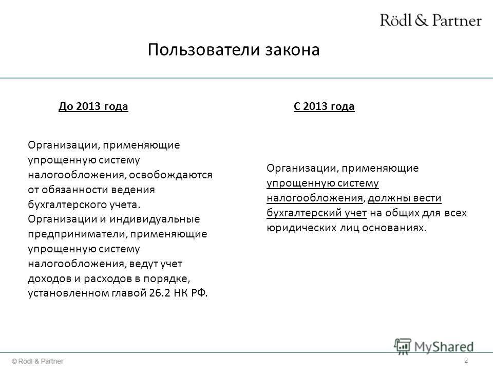 2 До 2013 годаС 2013 года Организации, применяющие упрощенную систему налогообложения, освобождаются от обязанности ведения бухгалтерского учета. Организации и индивидуальные предприниматели, применяющие упрощенную систему налогообложения, ведут учет