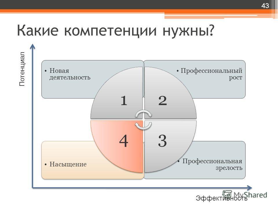 Какие компетенции нужны? 43 Потенциал Эффективность