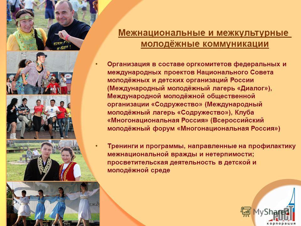 Организация в составе оргкомитетов федеральных и международных проектов Национального Совета молодёжных и детских организаций России (Международный молодёжный лагерь «Диалог»), Международной молодёжной общественной организации «Содружество» (Междунар