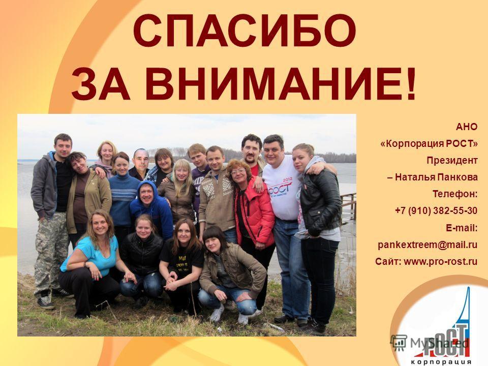 СПАСИБО ЗА ВНИМАНИЕ! АНО «Корпорация РОСТ» Президент – Наталья Панкова Телефон: +7 (910) 382-55-30 E-mail: pankextreem@mail.ru Сайт: www.pro-rost.ru