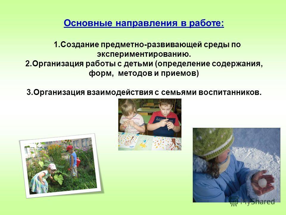 Основные направления в работе: 1. Создание предметно-развивающей среды по экспериментированию. 2. Организация работы с детьми (определение содержания, форм, методов и приемов) 3. Организация взаимодействия с семьями воспитанников.