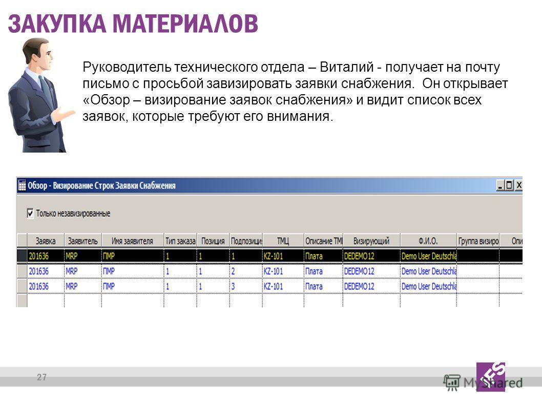 27 ЗАКУПКА МАТЕРИАЛОВ Руководитель технического отдела – Виталий - получает на почту письмо с просьбой завизировать заявки снабжения. Он открывает «Обзор – визирование заявок снабжения» и видит список всех заявок, которые требуют его внимания.
